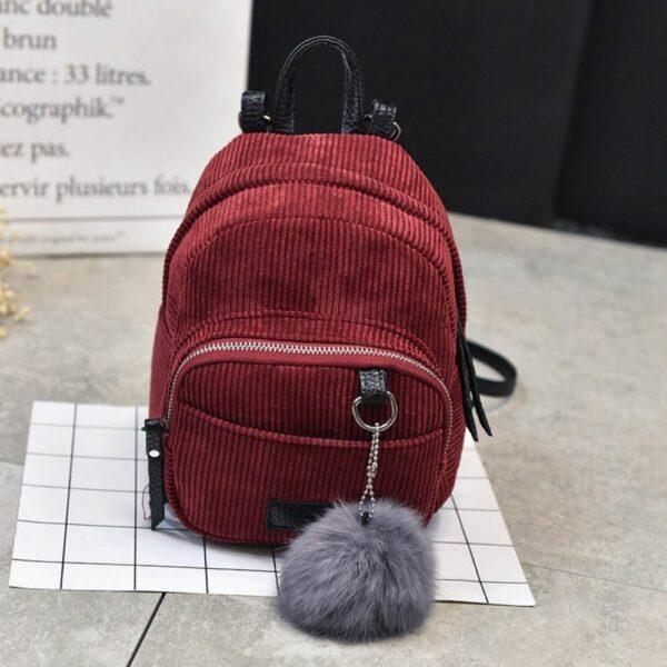 Sac À Dos Femme Petit Format Velours Côtelé - Rouge - Sac À Dos Sac À Dos Fille