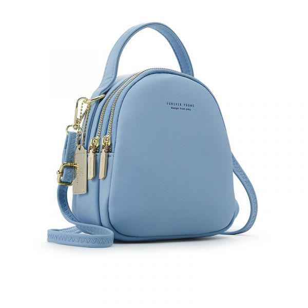 Sac À Dos Femme Petit Format Multi-Zip - Bleu - Sac À Dos Sac À Dos