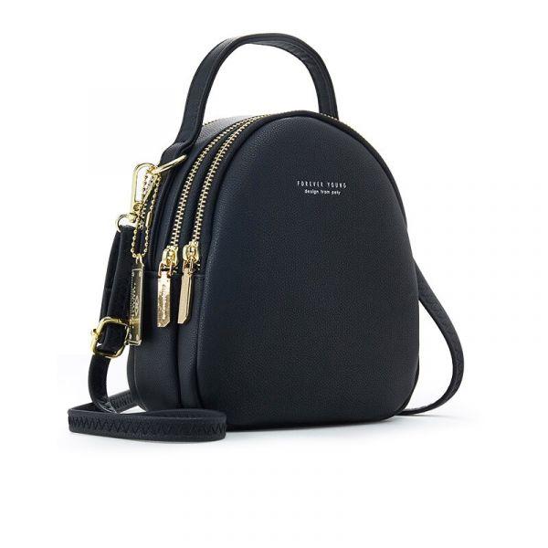 Sac À Dos Femme Petit Format Multi-Zip - Noir - Sac À Main Cuir