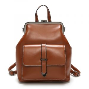 Sac à dos femme en similicuir marron style vintage - Sac à dos Sac à dos scolaire