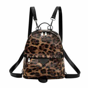 Sac à dos en similicuir imprimé léopard - Sac à dos Sac bandoulière