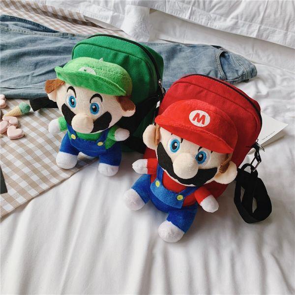 Sac À Bandoulière Avec Peluche Mario Bros Pour Enfants - Animal En Peluche Sac À Dos