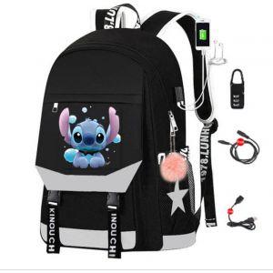Sac à dos Stitch avec chargeur USB - Gris - T-shirt Sac à dos scolaire