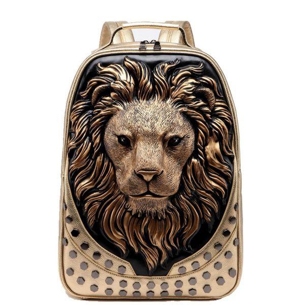 Sac À Dos Tête De Lion En Relief 3D - Sac À Dos Sac À Main
