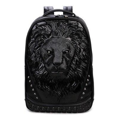 Sac À Dos Tête De Lion En Relief 3D - Noir - Sac À Dos Sac À Dos Scolaire