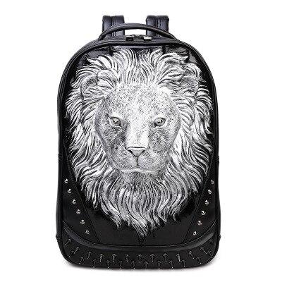 Sac À Dos Tête De Lion En Relief 3D - Argent - Sac À Dos Sac À Dos Pour Ordinateur Portable