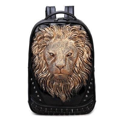 Sac À Dos Tête De Lion En Relief 3D - Marron - Sac À Dos Sac À Dos Scolaire