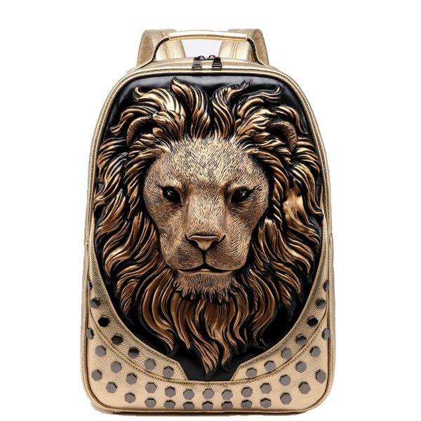 Sac À Dos Tête De Lion En Relief 3D - Or - Lion Sac À Dos