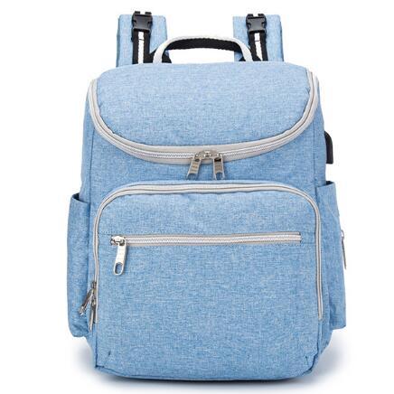 Sac À Langer Multifonction Avec Port Usb - Bleu - Les Bagages À Main Sac À Main