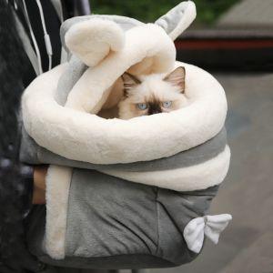 Sac à dos doux et chaud pour chat - Gris - Chat Chien