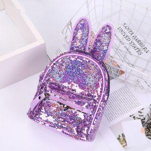 Sac à dos à paillettes avec oreilles de lapin - Sac à dos scolaire Sac à dos