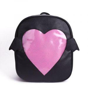 Sac à dos fille à rabat motif cœur - Noir - Ita-sac Sac à dos scolaire