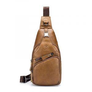Sacoche vintage en cuir - Camel - Sac bandoulière sac de messager