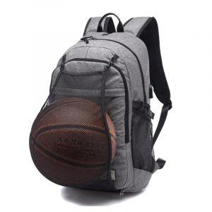 Sac à dos d'entraînement avec filet pour ballon - Gris - Sacs à dos de basket-ball Sac de gym