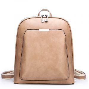 Petit sac à dos vintage en cuir uni - Beige - Sac à dos Sacs à dos