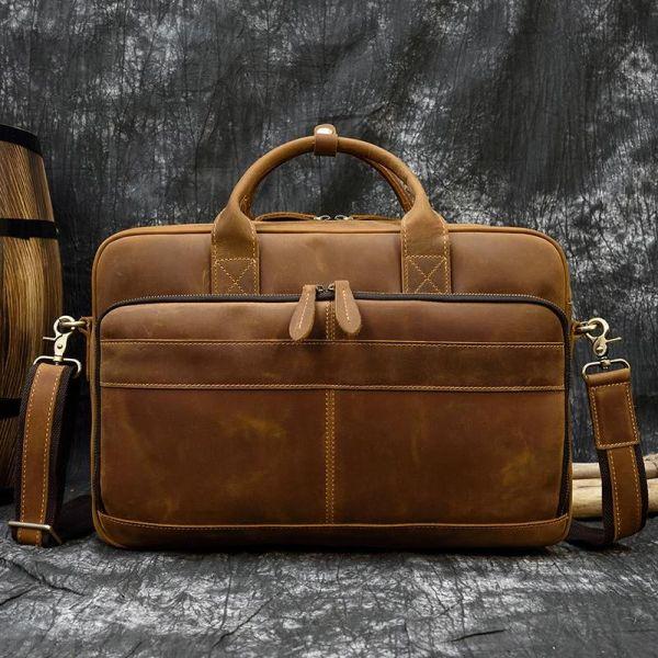 Sac Cartable Homme Style Vintage - Beige - Sac D'Ordinateur Portable Cuir