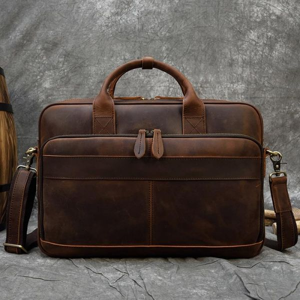 Sac Cartable Homme Style Vintage - Marron - Sac D'Ordinateur Portable Mallette