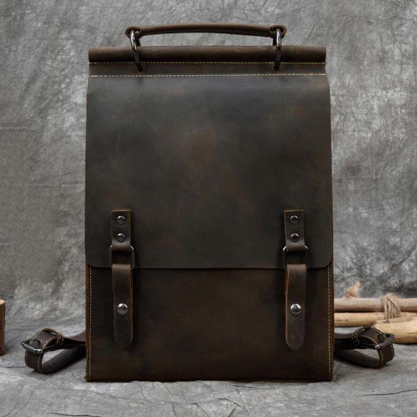 Sac À Dos Cartable Vintage En Cuir - Marron - Cuir Sac À Dos