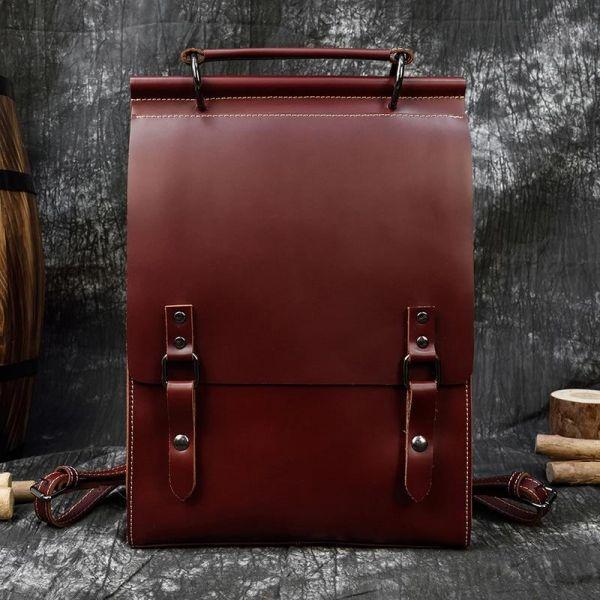 Sac À Dos Cartable Vintage En Cuir - Rouge - Sac À Main Cuir