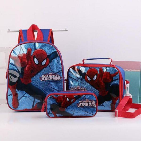 Ensemble 3 Pièces Sac D'École Spider-Man - Sac À Dos Scolaire Sac À Dos Pour Enfants